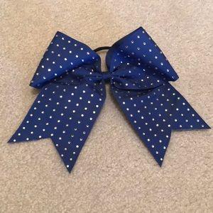 Blue rhinestone bow hair tie